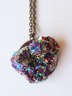 ✯ Titanium Quartz Druzy Necklace :: Etsy Shop FIVEANDTWOshop✯