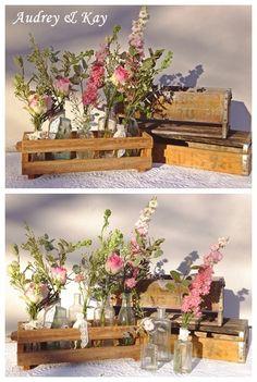 Vintage bottles and flowers