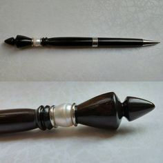 This ebony and pearl beauty will be in the shop this week. #mercure #penmaking #pearls #ebony #hairpens