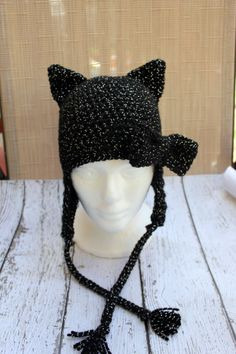 Black Cat Crochet Beanie with Bow by sisterscraftcorner on Etsy, $20.00