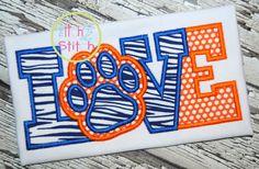 Paw Print Love Applique Design For Machine by TheItch2Stitch, $4.00