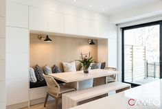 Custom Cabinetry, Breakfast Nook, Dining Bench, Kitchens, House Ideas, Thoughts, Furniture, Awesome, Design