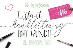 Great deal! 24 fonts (16 typefaces) for $16! Font Bundle - Instant Hand Lettering by Joanne Marie on @creativemarket