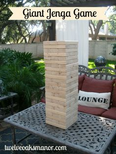 What a great party game.....life size!! How to make a giant Jenga game http://twelveoaksmanor.com