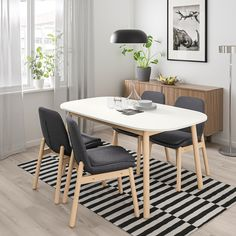 The matte, velvety surface of this dining table invites you to feel its smoothness. Partners perfectly with VEDBO chair for a timeless look. Four Seater Dining Table, Steel Dining Table, Dining Table Design, Glass Dining Table, Dining Table In Kitchen, Table And Chairs, Ikea Dining Table, Dining Chairs, Chairs