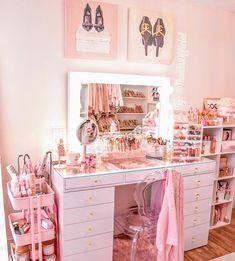 Fancy Bedroom, Pink Bedroom Decor, Room Ideas Bedroom, Neon Bedroom, Girls Bedroom Storage, Teen Bedroom Designs, Beauty Room Decor, Makeup Room Decor, Diy Room Decor For Girls