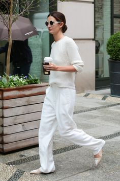 Lily's all white ensemble. NYC. #LilyAldridge