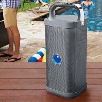 Brookstone bolsters its Bluetooth line with Big Blue Party, a sexy indoor-outdoor tower speaker