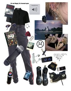 """if I were a polyvore set"" by angelo-t on Polyvore featuring T By Alexander Wang, Dr. Martens, Converse, Polaroid, Pomeroy, Clé de Peau Beauté, Fendi, goth, aesthetic and polyvoreset"