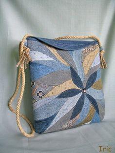 blue applique bag