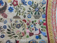 Once again, another amazing applique quilt from Sally. Her vision for these appliques and fabric choices are so nice, there are lots of . Caswell Quilt, Applique Quilt Patterns, Quilting Designs, Quilt Design, Pin Cushions, Quilt Blocks, Blanket, Rugs, Sewing