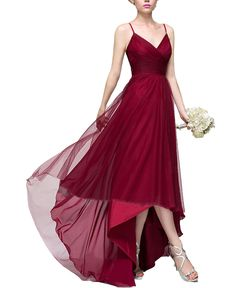 A-Line Princess V-neck Asymmetrical Tulle Burgundy Tulle Bridesmaid