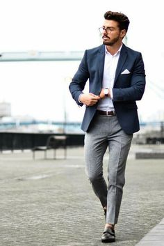 Blazer look for men blazer outfits men, grey pants outfi Chinos Men Outfit, Blazer Outfits Men, Mens Fashion Blazer, Mens Fashion Blog, Suit Fashion, Chinos And Blazer Men, Mens Smart Fashion, Grey Chinos Men, Blue Blazer Outfit Men