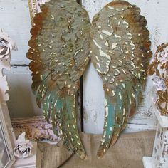 Large metal wings wall decor rusty distressed by AnitaSperoDesign