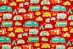 Riley Blake Road Trailer Quilting Cotton in Red