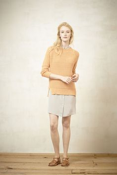 Steven Alan Spring 2013 RTW - It's all about the details of this look for me - the contrasting textures, the top button of the dress being buttoned, the slit in the sweater, etc, etc
