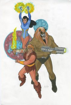 Thundarr, Princess Ariel and Ookla the Mok by Phil Noto from the I Love Cartoons collection at http://ilovecartoons.com/