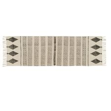 Runner en coton ecru avec motifs maya athezza 60x180