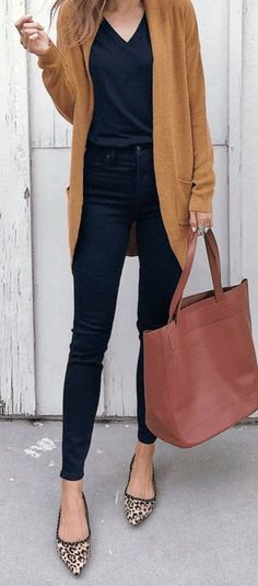 casual outfits for women / casual outfits ; casual outfits for winter ; casual outfits for women ; casual outfits for work ; casual outfits for school ; Legging Outfits, Leggings Outfit Fall, Cardigan Outfits, Dress And Cardigan, Brown Cardigan Outfit, Navy Pants Outfit, Loafers For Women Outfit, Flat Shoes Outfit, Gold Cardigan