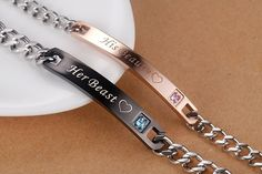AmorFeel His Beauty Her Beast Stainless Steel His and Hers Couple Bracelet(2pcs)