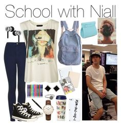 """""""School with Niall"""" by fakeverahoran ❤ liked on Polyvore"""