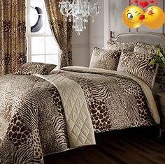 #trendy #8PCS Animal Print King Ensemble Bedding Set - Chocolate & Beige This 8pcs ensemble bedding set is the latest design in our printed bedding range. This s...