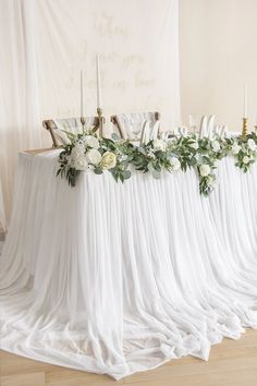 Perfect for rustic, organic wedding decor! Extra-long pooling table skirt 7 colors, off Tulle Table Runner, Wedding Bouquets, Wedding Flowers, Wedding Cakes, Wedding Favors, Wedding Invitations, Wedding Dresses, Head Table Wedding Decorations, Round Table Wedding
