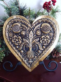 Blackened Beeswax LARGE FLORAL HEART in Antiqued Bronzed Ornament Primitive Wall Art German Springerle Mold Casting European Folk Art