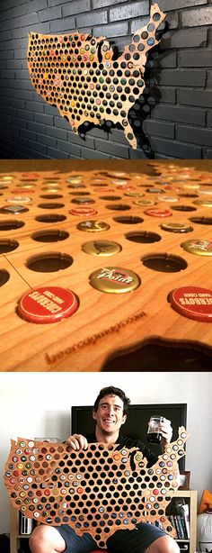 A nifty way to keep your beer cap collection! | Check it out ==> http://gwyl.io/usa-beer-cap-map/