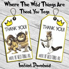 Where The Wild Things Are Birthday Party Thank You Tag * Thank You Card  * Digital Printable Instant Download File by DreamsDigital on Etsy https://www.etsy.com/listing/467196717/where-the-wild-things-are-birthday-party
