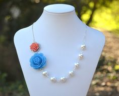 love the coral and blue!
