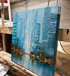 Blue Modern City Abstract Painting Original von OsnatFineArt - - how to make - malmittel Blue Abstract, Abstract Canvas, Oil Painting On Canvas, Canvas Art, City Painting, Canvas Ideas, Painting Abstract, Texture Painting, Painting Art
