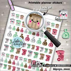 Garbage Stickers Printable Planner Stickers Trash von LetsPaperUp