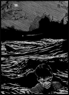 Barry Moser: Man Overboard,  wood engraving  chroniclebooks.com