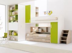 Green and White Children Loft Bedroom with Wardrobe and Ladder