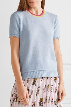 Prada - Distressed Wool And Cashmere-blend Sweater - Sky blue - IT40