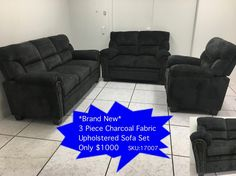 Source Liquidations: Used Furniture outlet - Mississauga & Toronto Upholstered Sofa, Furniture Outlet, Sofa Set, Toronto, Places To Go, Charcoal, Couch, Fabric, Home Decor