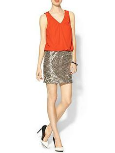 C.Luce Coral Top & Sequin Skirt Dress   Piperlime