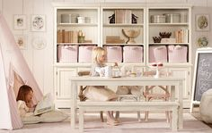 Cute play room storage idea for basement. Need to do less pink though for both boy and girl.