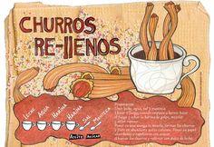 Churros rellenos - ilustración de Adriana La Sala de Argentina para http://recetasilustradas.com/