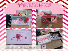 Fun, easy Valentine's Day boxes made out of shoe & kleenex boxes!