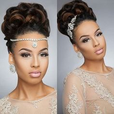 Hair inspiration...such a beauty☝️,Hair @ladylike_hb Photo @fireshone, Mua @thequeenhadassah, Gown @sarahboadu #sugarweddings
