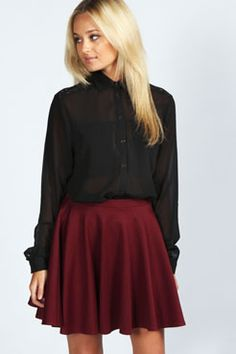 Imogen Long Sleeve Lace Panel Shirt at boohoo.com