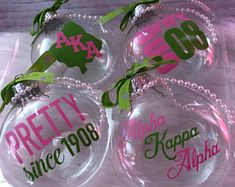 A pretty addition to a pretty girl's tree. This set includes 4 custom designed ornaments - each is a glass disc shaped ornament. Please note ribbon style may vary. Aka Sorority Gifts, Sorority And Fraternity, Horse Christmas Ornament, Christmas Bulbs, Christmas Ideas, Alpha Kappa Alpha, Alpha Shirt, Delta Phi, Line Art Images