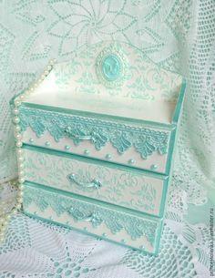 Купить «Мятная нега» Мини-комод для украшений, рукоделия - мятный, кружева, изящный, нежный