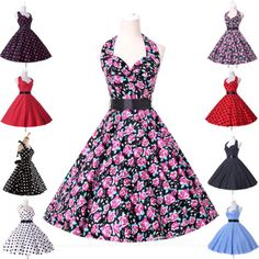 50s-60s-ROCKABILLY-ama-de-casa-Vintage-Retro-Swing-vestido-Pinup-fiesta-Floral