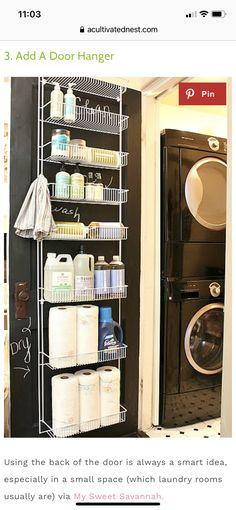 Laundry Room Doors, Laundry Room Organization, Laundry Room Design, Small Space Organization, Small Storage, Diy Storage, Storage Ideas, Organization Ideas, Small Shelves