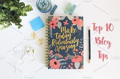 Blue journal, greenery flatlay by Steeped Creative Design on @creativemarket