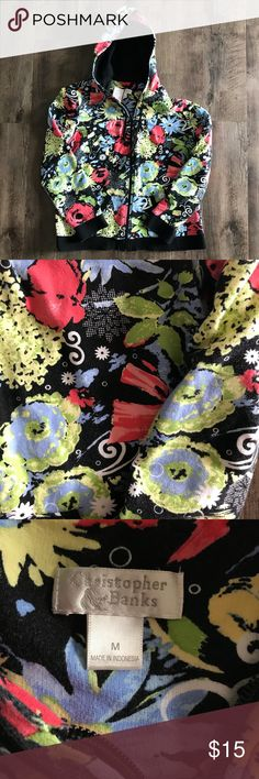 Christopher & Banks floral hoodie Beautiful hoodie in good used condition. Slight fade and a bit of wear to one cuff but nothin major at all and 110% wearable Christopher & Banks Tops Sweatshirts & Hoodies