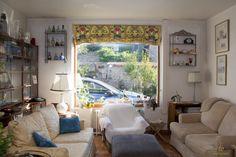 Anciens rideaux recyclés en store bateau sur www.10mainstreet.fr